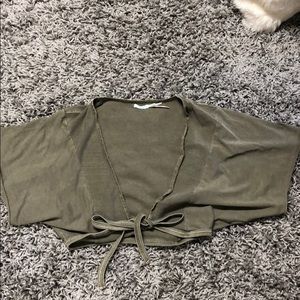 Urban Outfitters olive green cropped cover up